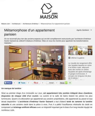 Article du site Maison.com sur la rénovation d'un appartement haussmannien à Paris